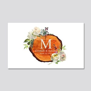 Floral Wood Wedding Monogram Wall Decal