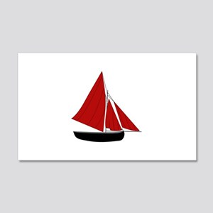 Red Sail Boat Wall Decal