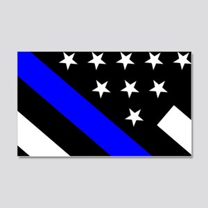 Police Flag: Thin Blue Line 20x12 Wall Decal