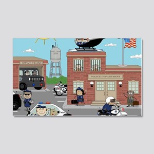 POLICE DEPARTMENT SCENE 20x12 Wall Decal
