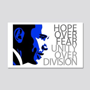 Obama - Hope Over Division - Blue Sticker (Rectang