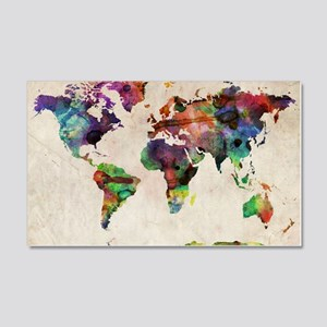 World Map Urban Watercolor 14x10 20x12 Wall Decal