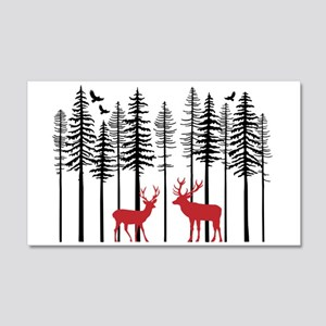 Reindeer in fir tree forest Wall Decal