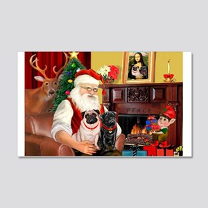 Santa's Two Pugs (P1) 22x14 Wall Peel