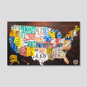 United States License Plate Map 20x12 Wall Decal