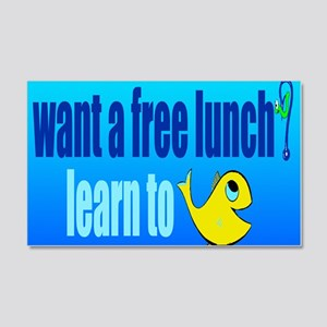 free lunch - learn to fish 20x12 Wall Decal