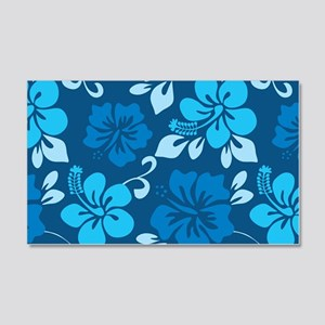 Shades of blue Hawaiian hibiscus 20x12 Wall Decal