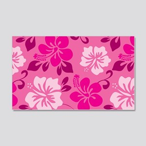 Shades of pink Hawaiian Hibiscus Wall Decal