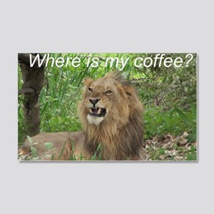 Angry Male Lion wants his coffee 20x12 Wall Decal