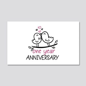 1st Anniversary Cute Couple Doodl 20x12 Wall Decal