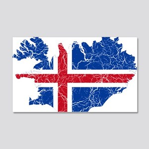 Iceland Flag And Map 20x12 Wall Decal