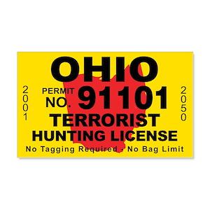 Ohio Terrorist Hunting Licens 22x14 Wall Peel