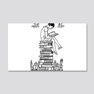 Reading Girl atop books 20x12 Wall Decal
