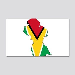 Guyana Flag and Map 20x12 Wall Decal