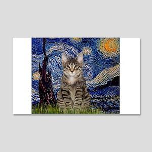 Starry Night & Tiger Cat 22x14 Wall Peel