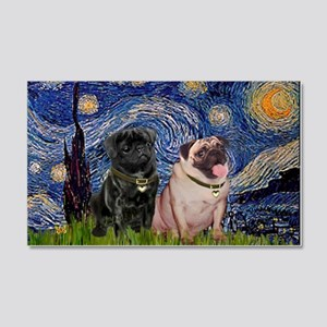 Starry Night Pug Pair 22x14 Wall Peel