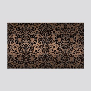 DAMASK2 BLACK MARBLE & BRONZE MET 35x21 Wall Decal