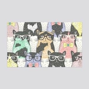 Hipster Cats 35x21 Wall Decal