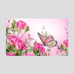 Butterfly Flowers 35x21 Wall Decal
