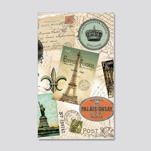 Vintage Travel collage 35x21 Wall Decal