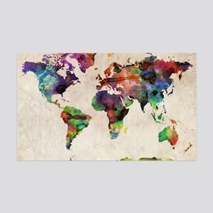 World Map Urban Watercolor 14x10 35x21 Wall Decal