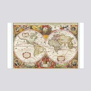 Antique World Map 35x21 Wall Decal