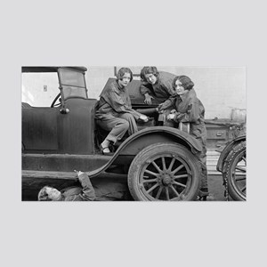 Young Lady Auto Mechanics 35x21 Wall Decal