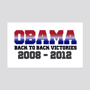 Obama Back to Back Victory 35x21 Wall Decal
