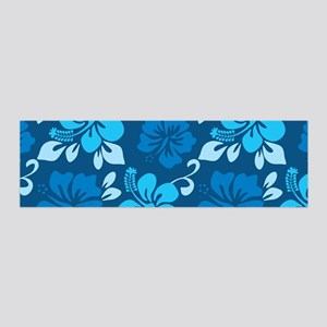 Shades of blue Hawaiian hibiscus 20x6 Wall Decal