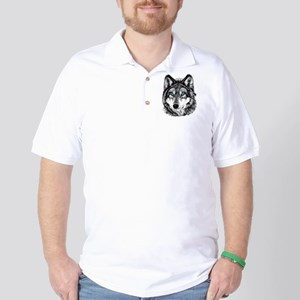 Painted Wolf Grayscale Golf Shirt
