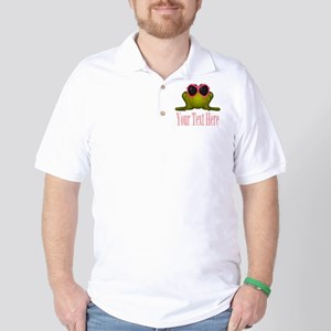 Frog in Pink Sunglasses Custom Golf Shirt