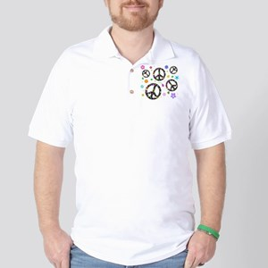 Peace symbols and flowers pat Golf Shirt