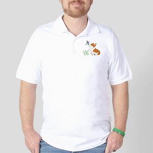 Corgi with butterfly Golf Shirt