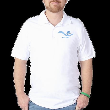 Cyclist in Blue. Custom Text. Golf Shirt