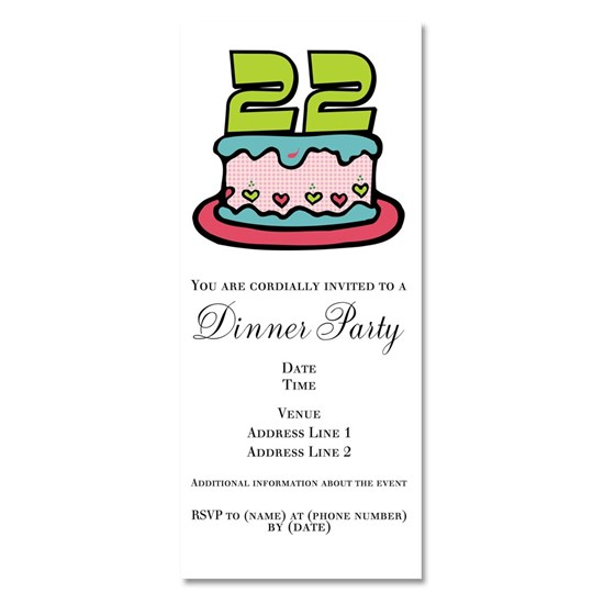 22 Year Old Birthday Cake Invitations