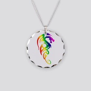 Tribal Dragon Necklace Circle Charm