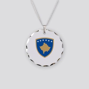 Kosovo Coat of Arms Necklace Circle Charm
