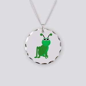 Grasshopper Necklace Circle Charm