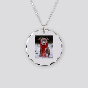 Winter Pit Bull Necklace Circle Charm