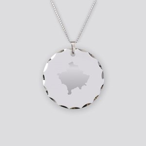 Kosovo Map Silver Necklace Circle Charm