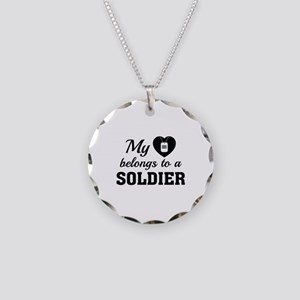 Heart Belongs Soldier Necklace Circle Charm