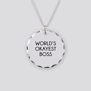 World's Okayest Boss Necklace Circle Charm