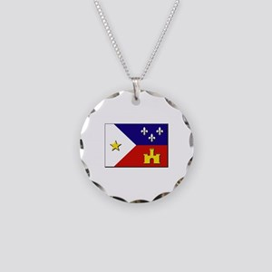 Flag of Acadiana Necklace Circle Charm