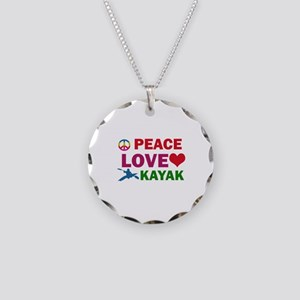 Peace Love Kayak Designs Necklace Circle Charm