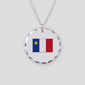 Flag of Acadia Necklace Circle Charm
