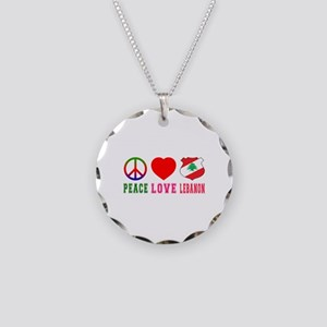 Peace Love Lebanon Necklace Circle Charm