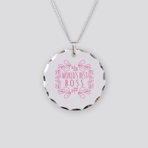 Cute Pink World's Best Boss Necklace Circle Charm