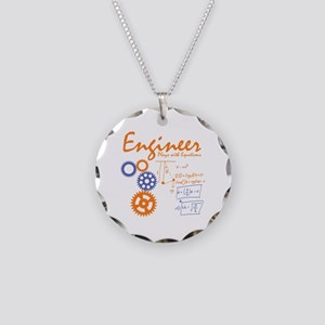 Engineer tshirt Necklace Circle Charm