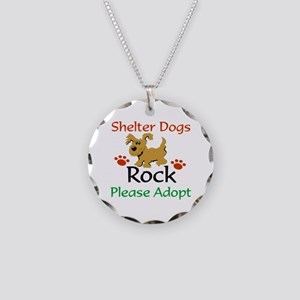 Shelter Dogs Rock Please Necklace Circle Charm
