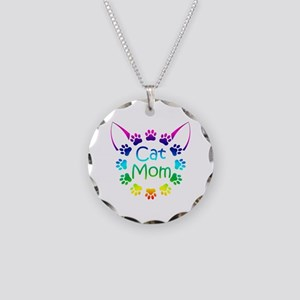 """Cat Mom"" Necklace Circle Charm"